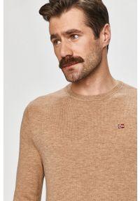 Beżowy sweter Napapijri z długim rękawem, casualowy, na co dzień