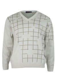 Sweter Kings na jesień, z dekoltem w serek, elegancki, w kratkę