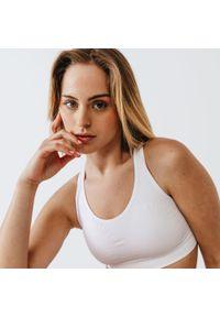 KALENJI - Stanik do biegania Kalenji Basics. Kolor: biały. Materiał: poliester, poliamid, materiał, elastan