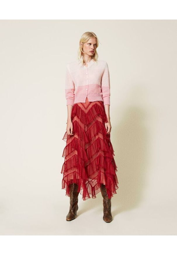 TwinSet - Długa tiulowa spódnica z plisowanymi falbankami Twinset. Materiał: tiul. Długość: długie
