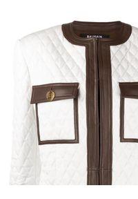 Balmain - BALMAIN - Pikowana kurtka ze skóry. Kolor: brązowy. Materiał: skóra. Wzór: aplikacja. Styl: elegancki