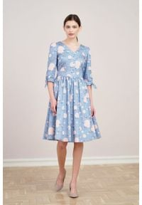 Marie Zélie - Sukienka Odette Anates błękitna. Kolor: niebieski. Materiał: bawełna, satyna, skóra, materiał
