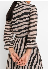 Sukienka bonprix beżowo-czarny wzorzysty. Kolor: beżowy