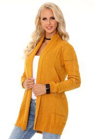 Merribel - Niezapinany Kardigan z Ażurem - Musztardowy. Kolor: żółty. Materiał: akryl. Wzór: ażurowy