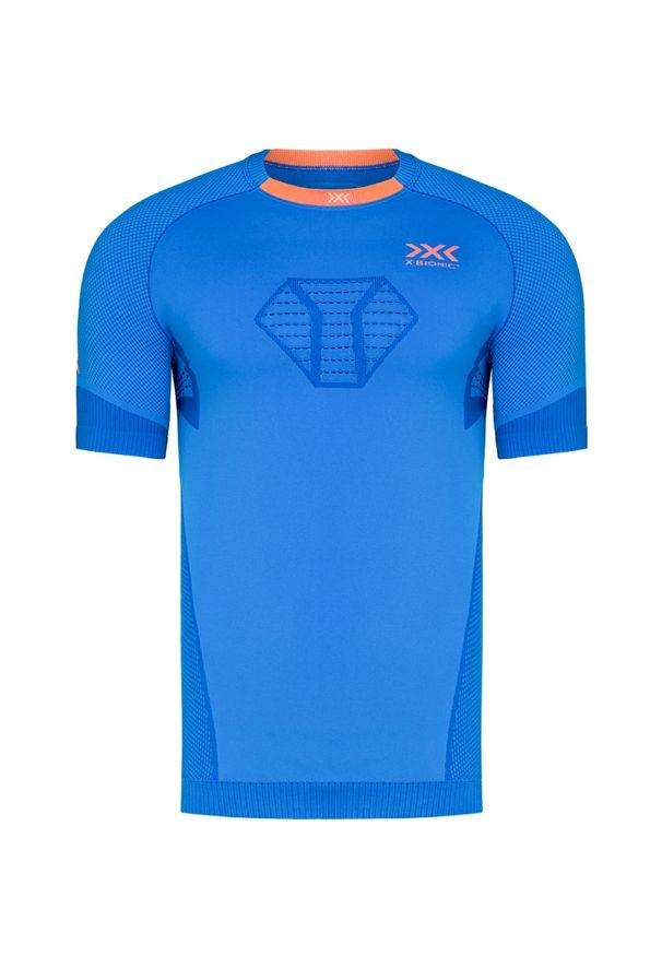Niebieska koszulka termoaktywna X-Bionic z krótkim rękawem, z asymetrycznym kołnierzem, do biegania