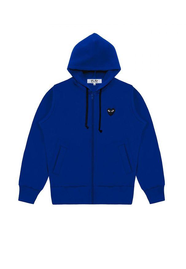 COMME DES GARCONS PLAY - Niebieska bluza z czarnym monogramem. Kolor: niebieski. Materiał: dresówka. Styl: klasyczny