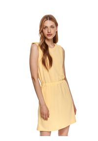 DRYWASH - Dzianinowa sukienka bez rękawów. Kolor: żółty. Materiał: dzianina. Długość rękawa: bez rękawów. Sezon: lato. Długość: mini