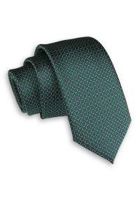 Alties - Zielony Elegancki Męski Krawat -ALTIES- 6 cm, Klasyczny, w Drobną Kratkę. Kolor: zielony. Materiał: tkanina. Wzór: kratka. Styl: klasyczny, elegancki