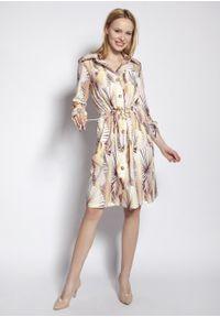 e-margeritka - Sukienka koszulowa na guziki wiązana w talii - 36. Okazja: na co dzień. Materiał: tkanina, wiskoza, materiał. Długość rękawa: długi rękaw. Typ sukienki: koszulowe. Styl: casual. Długość: midi