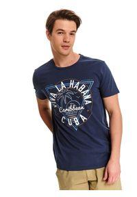 Niebieski t-shirt TOP SECRET z krótkim rękawem, krótki, z okrągłym kołnierzem, z nadrukiem