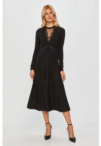 Czarna sukienka TwinSet na co dzień, z długim rękawem, prosta, midi