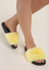 Renee - Żółte Klapki Aphitti. Nosek buta: otwarty. Kolor: żółty. Materiał: materiał, jeans, futro, guma. Sezon: lato. Styl: klasyczny