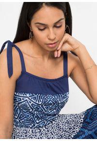 Niebieska sukienka bonprix z nadrukiem, na ramiączkach, midi