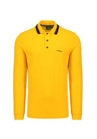 Żółta koszulka polo Chervo z długim rękawem, na co dzień, polo