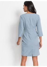 Fioletowa sukienka bonprix z krótkim rękawem, w kolorowe wzory, ołówkowa