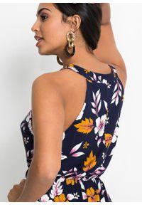 Długa sukienka z nadrukiem bonprix ciemnoniebieski w kwiaty. Typ kołnierza: dekolt w serek. Kolor: niebieski. Długość rękawa: bez rękawów. Wzór: kwiaty, nadruk. Długość: maxi