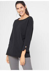 Shirt oversize o waflowej fakturze, rękawy 3/4 bonprix czarny. Kolor: czarny