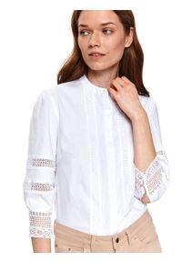 Biała koszula TOP SECRET długa, z długim rękawem, w koronkowe wzory