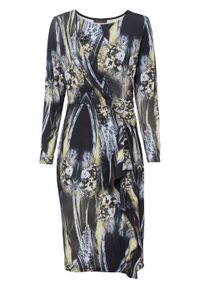 Sukienka z dżerseju bonprix czarno-limonka - srebrny we wzór skóry węża. Kolor: czarny. Materiał: jersey, skóra