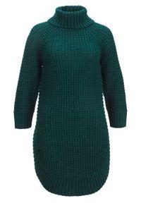 Miękki sweter dzianinowy, rękawy do łokcia bonprix głęboki zielony. Typ kołnierza: golf. Kolor: zielony. Materiał: dzianina. Długość rękawa: raglanowy rękaw