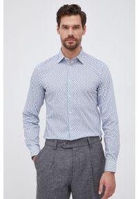 United Colors of Benetton - Koszula. Okazja: na co dzień. Typ kołnierza: kołnierzyk klasyczny. Kolor: niebieski. Materiał: tkanina. Długość rękawa: długi rękaw. Długość: długie. Styl: klasyczny, casual