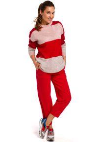 Sweter MOE w kolorowe wzory, klasyczny, z klasycznym kołnierzykiem