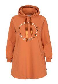 Zhenzi Bluza z kapturem i nadrukiem pomarańczowy female pomarańczowy 54/56 (XL). Typ kołnierza: kaptur. Kolor: pomarańczowy. Materiał: dzianina, dresówka. Wzór: nadruk