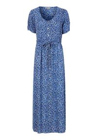 Cellbes Długa sukienka z krepy niebieski we wzory female niebieski/ze wzorem 42/44. Kolor: niebieski. Materiał: materiał. Długość rękawa: krótki rękaw. Długość: maxi