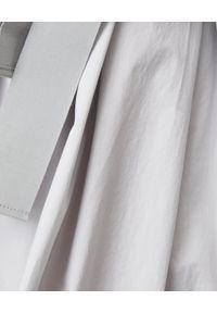 LE TRICOT PERUGIA - Szara sukienka z wiązaniem. Kolor: szary. Materiał: bawełna. Typ sukienki: rozkloszowane, koszulowe. Styl: elegancki. Długość: midi