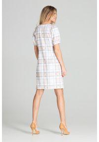 Figl - Trapezowa sukienka midi z kwadratowym dekoltem pastelowa kratka. Typ kołnierza: dekolt kwadratowy. Materiał: materiał. Wzór: kratka. Typ sukienki: trapezowe. Długość: midi