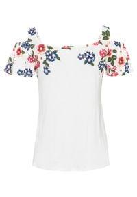 Shirt cold-shoulder z nadrukiem bonprix biel wełny w kwiaty. Kolor: biały. Materiał: wełna. Wzór: kwiaty, nadruk