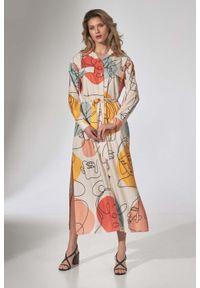 Figl - Długa Koszulowa Sukienka z Paskiem - Wzór 123. Materiał: poliester, elastan. Wzór: kwiaty. Typ sukienki: koszulowe. Długość: maxi