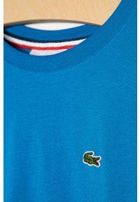 Niebieski t-shirt Lacoste gładki, casualowy