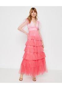 LOVE SHACK FANCY - Długa sukienka Francoise. Kolor: wielokolorowy, różowy, fioletowy. Materiał: tiul, materiał. Wzór: kolorowy, aplikacja. Typ sukienki: kopertowe. Styl: wizytowy. Długość: maxi