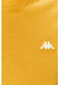 Żółty t-shirt Kappa casualowy, na co dzień, z aplikacjami