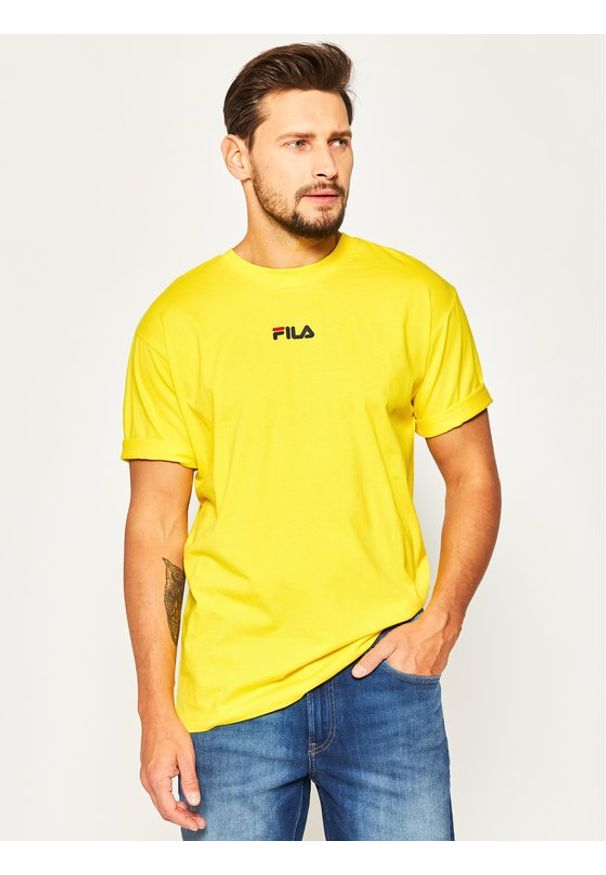 Fila T-Shirt Bender 687484 Żółty Regular Fit. Kolor: żółty
