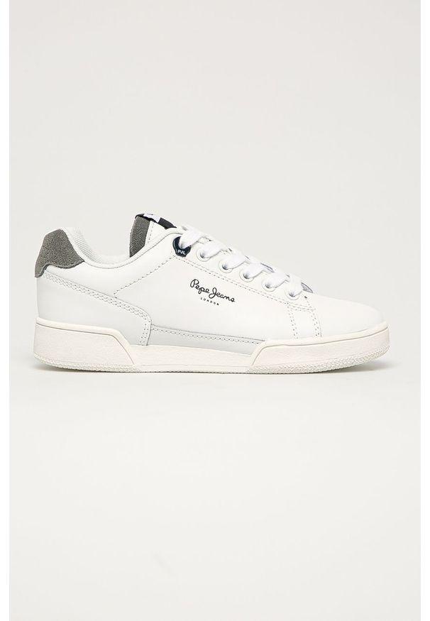 Białe buty sportowe Pepe Jeans z okrągłym noskiem, z cholewką, na sznurówki