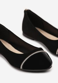 Born2be - Czarne Balerinki Mhyrsya. Nosek buta: okrągły. Kolor: czarny. Materiał: nubuk, lakier, skóra ekologiczna, syntetyk. Wzór: gładki, aplikacja. Obcas: na płaskiej podeszwie. Styl: klasyczny, elegancki