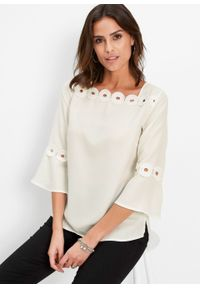 Biała bluzka bonprix z aplikacjami, elegancka