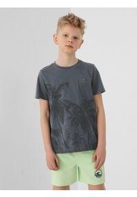 4f - T-shirt chłopięcy (122-164). Kolor: niebieski. Materiał: bawełna, dzianina