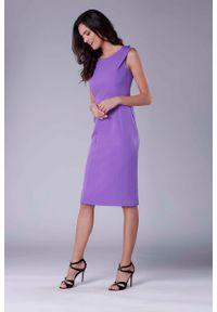 Fioletowa sukienka wizytowa Nommo wizytowa, ołówkowa