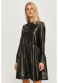 Czarna sukienka only mini, na co dzień, ze stójką, prosta