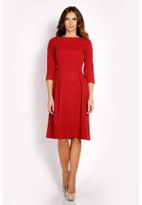 Lou-Lou - Bordo Sukienka Rozkloszowana z Rękawem 3/4. Materiał: wiskoza, poliester, elastan