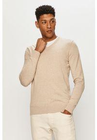 Beżowy sweter Tom Tailor z długim rękawem, długi, gładki
