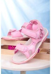 Casu - różowe sandały na rzepy ze skórzaną wkładką casu 7014. Zapięcie: rzepy. Kolor: różowy. Materiał: skóra