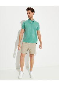 Ralph Lauren - RALPH LAUREN - Zielona koszulka polo Slim Fit Mesh. Typ kołnierza: polo. Kolor: zielony. Materiał: mesh