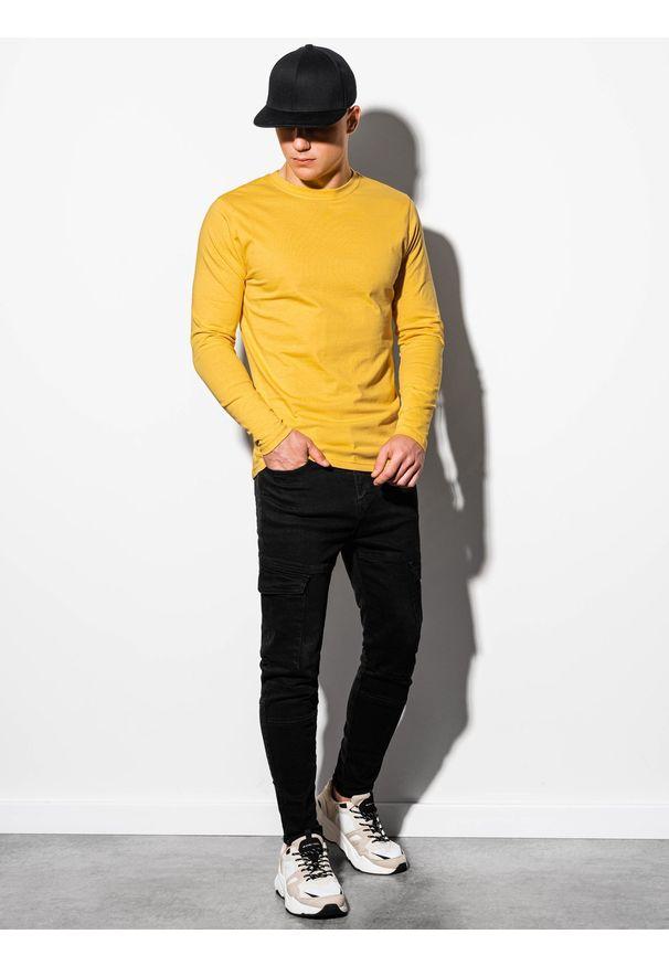 Żółta koszulka z długim rękawem Ombre Clothing klasyczna, z kapturem
