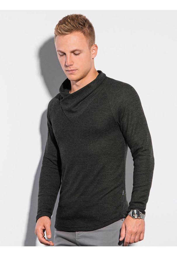 Ombre Clothing - Bluza męska bez kaptura B1222 - khaki - XXL. Typ kołnierza: bez kaptura. Kolor: brązowy. Materiał: poliester, elastan, akryl