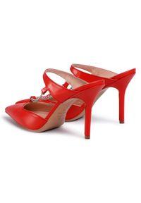 Czerwone klapki Eva Minge klasyczne, z aplikacjami