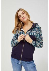 Bluza MOODO z długim rękawem, z kapturem, długa, w kwiaty